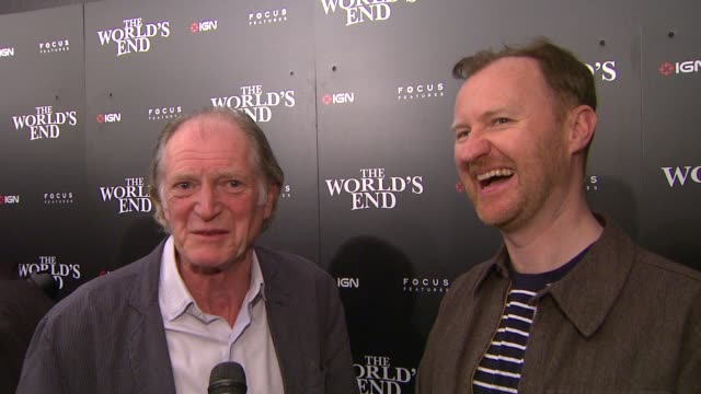 interview david bradley and mark davis on the world's end on the movie having a message and on what they're working on at ign focus features... - 2013 stock-videos und b-roll-filmmaterial