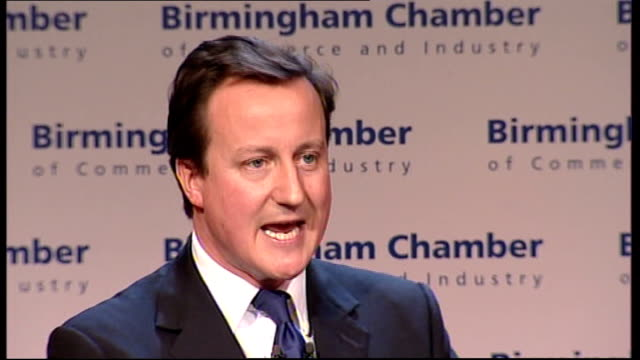 David Cameron addresses Birmingham Chamber of Commerce meeting David Cameron MP speech SOT The height of the boom is precisely when financial...