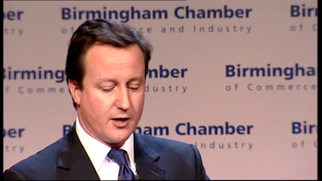 david cameron addresses birmingham chamber of commerce meeting david cameron mp speech sot those of you whose businesses are dependent on exports... - stabilisers stock videos & royalty-free footage