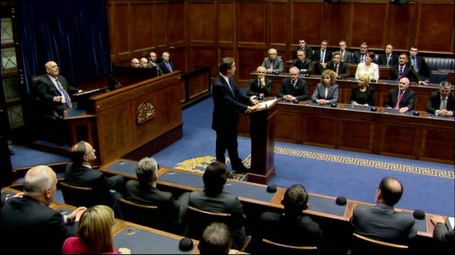 david cameron addresses northern ireland assembly david cameron mp speech sot mr speaker thank you for your kind invitation to address the assembly... - address book stock videos & royalty-free footage