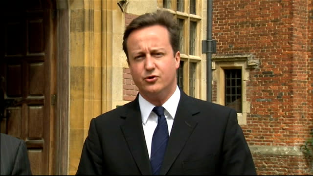 David Cameron and Asif Ali Zardari statement at Chequers ENGLAND Buckinghamshire Chequers EXT David Cameron MP and Asif Ali Zardari along to speak to...