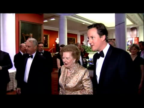 david cameron and baroness thatcher attend morgan stanley great briton 2007 awards. interior shots of margaret thatcher greeted by david cameron &... - baroness stock videos & royalty-free footage