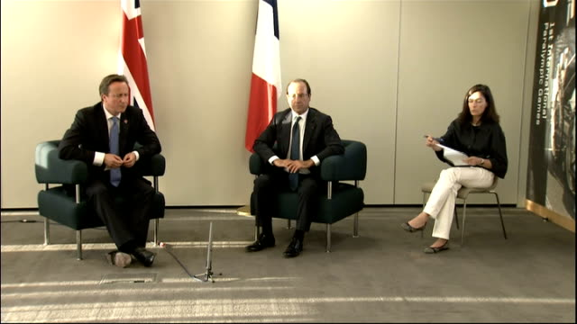 stockvideo's en b-roll-footage met david cameron and francois hollande press conference at olympic park; francois hollande press conference sot [in french, with breaks for translation]... - adn