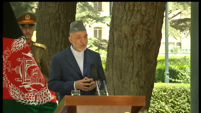 David Cameron and Hamid Karzai joint press conference Hamid Karzai answering question SOT On whether the war has been worth the loss of lives and...