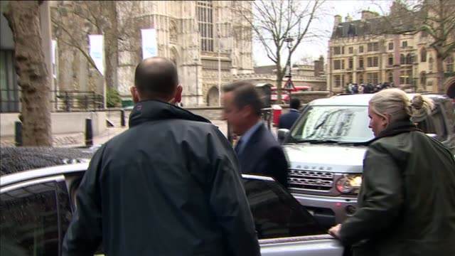 david cameron and michael gove depart policy exchange england london westminster ext david cameron mp and others departing policy exchange building... - michael gove stock-videos und b-roll-filmmaterial