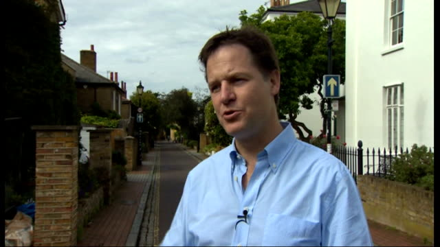 David Cameron and Nick Clegg announce rail investment plan at coalition relaunch Nick Clegg interview ENGLAND London EXT Nick Clegg MP interview SOT...