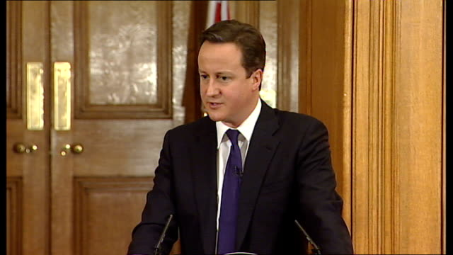 david cameron and nick clegg joint press conference david cameron answering questions sot on present management of heathrow airport we want to see... - ホモフォビア点の映像素材/bロール