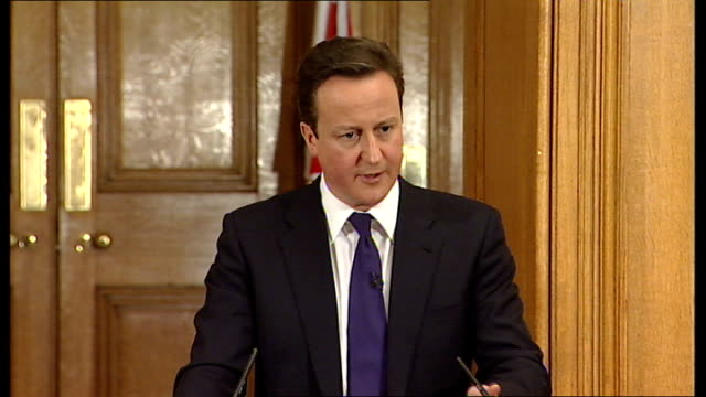 david cameron and nick clegg joint press conference; david cameron answering questions sot - on giving the vote to prisoners / prison system is not... - prisoner education stock videos & royalty-free footage