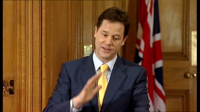 david cameron and nick clegg joint press conference nick clegg answering questions sot on making a conscious decision to make long term plans unlike... - maoism stock videos & royalty-free footage