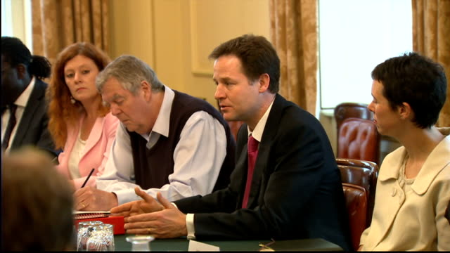 david cameron and nick clegg meet charity workers nick clegg mp speaking sot what i've been discovering is that we've been using different words for... - responsibility stock videos & royalty-free footage