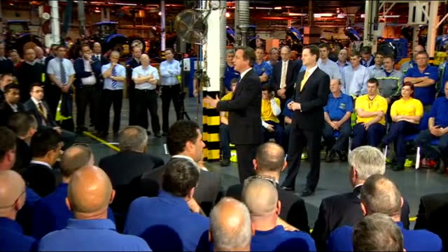 david cameron and nick clegg renew coalition vows; essex: basildon: int cameron and clegg along david cameron mp speech sot - we're different... - basildon stock videos & royalty-free footage
