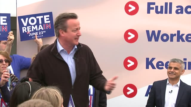 david cameron and sadiq khan spreaking together at a vote remain campaign rally nnbu312x - continuity stock videos & royalty-free footage