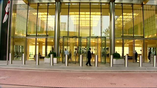 david cameron announces banking inquiry following rate-fixing scandal; date unknown london: ext barclays sign tilt down entrance to barclays hq... - banking sign stock videos & royalty-free footage