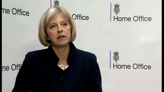 david cameron announces new measures to counter islamic state threat; england: london: int theresa may mp interview sot - jtac has today raised the... - 10 seconds or greater stock-videos und b-roll-filmmaterial