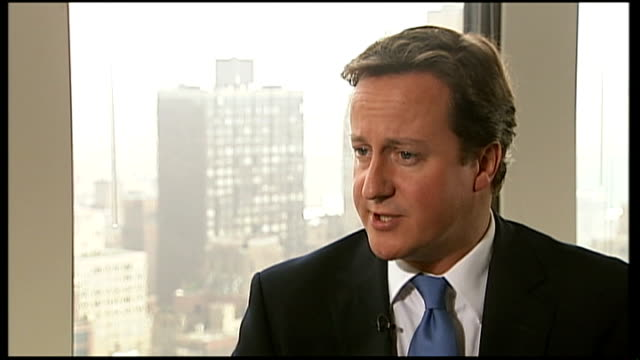 david cameron appears before united nations: interview with david cameron; usa: new york: int david cameron mp interview sot it's a call to make sure... - öffentlicher auftritt stock-videos und b-roll-filmmaterial