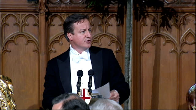 David Cameron arrival and speech at Guildhall Cameron speech SOT Creating an ambitious coordinated and muscular approach to government which allows...