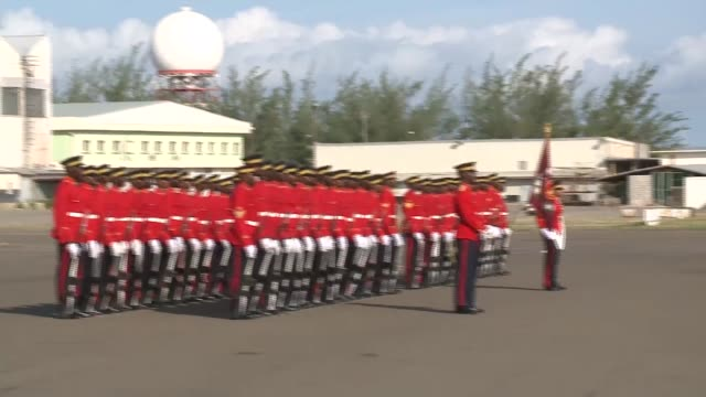 kingston norman manley airport ext guard of honour / portia simpsonmiller along / david cameron mp and justine greening mp departing plane /... - meet and greet stock videos and b-roll footage
