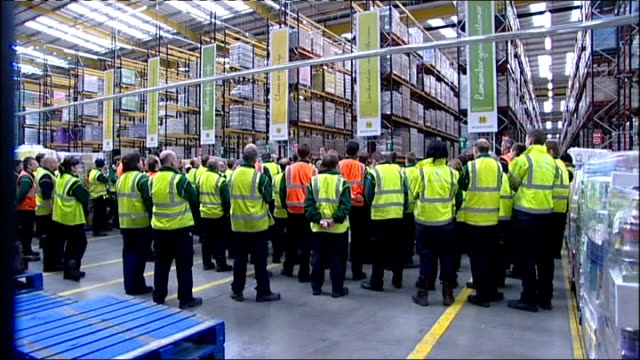 david cameron at morrisons supermarket distribution centre more shots of cameron answering questions and workers listening cameron finishes speech... - down jacket stock videos and b-roll footage