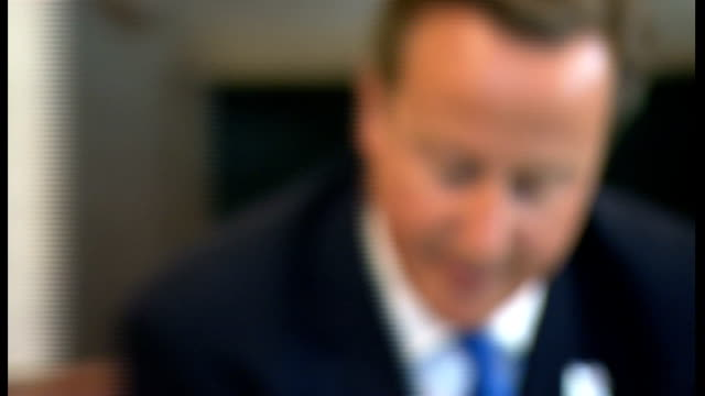 david cameron at the cabinet round table since reshuffle england london westminster downing street int general views of cabinet ministers around... - 政治家 ケネス・クラーク点の映像素材/bロール