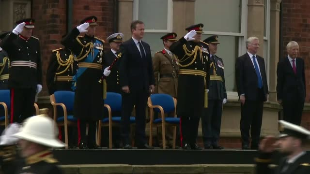 david cameron attends armed forces day at cleethorpees david cameron and others stand as military marching band along - music stand stock videos & royalty-free footage
