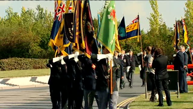 david cameron attends ceremony marking relocation of military repatriations england oxfordshire raf brize norton ext union jack flag flying various... - union army stock videos and b-roll footage