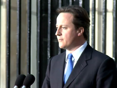david cameron became britain's new prime minister tuesday and vowed to form a 'strong and stable' coalition, after breaking five days of deadlock... - prime minister stock videos & royalty-free footage