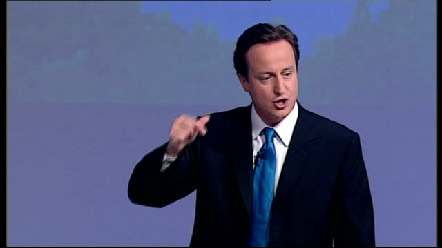 david cameron closing speech of conservative party conference 2007; -so let me tell you what we'll do, we will give head teachers complete command of... - security blanket stock videos & royalty-free footage
