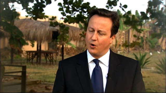 vídeos y material grabado en eventos de stock de david cameron comments on aid during school visit ext david cameron interview sot liberia is a country that was absolutely devastated by conflict and... - liberia