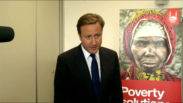david cameron comments on famine in somalia and meets somali nationals england west midlands birmingham int david cameron mp speaking to press sot... - horn of africa stock videos and b-roll footage