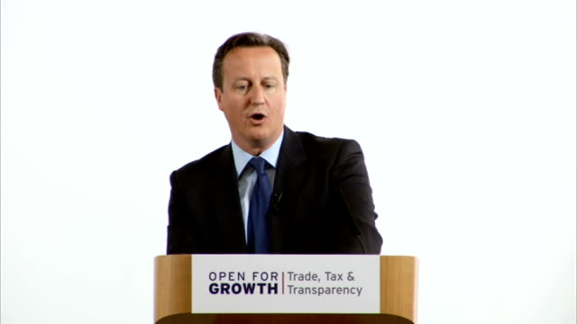 david cameron cuts deal with britain's overseas territories on tax evaders lancaster house int david cameron mp speech sot each and every one of our... - 共生関係点の映像素材/bロール