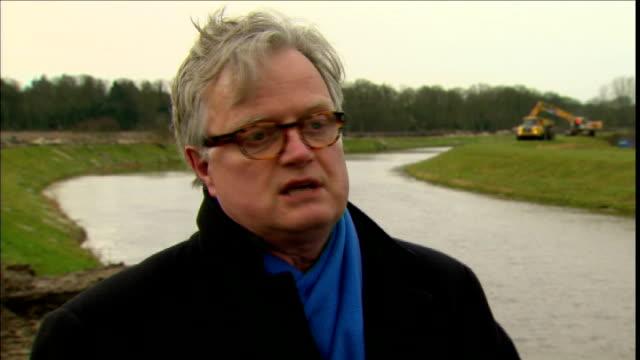 David Cameron defends handling of flood crisis LOCATION Peter Glas interview SOT Berkshire Fastflowing swollen river