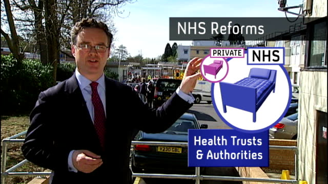 David Cameron defends NHS health reforms EXT Reporter to camera GRAPHIC OVERLAY of NHS Reforms statistics