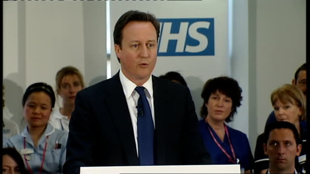 David Cameron defends NHS health reforms Surrey Camberley INT David Cameron speech to NHS staff SOT you are a great British institution we love what...