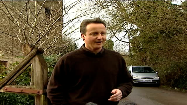 david cameron doorstep interview responding to drug allegations england oxfordshire ext david cameron mp towards from house to speak to press / david... - oxfordshire stock videos & royalty-free footage