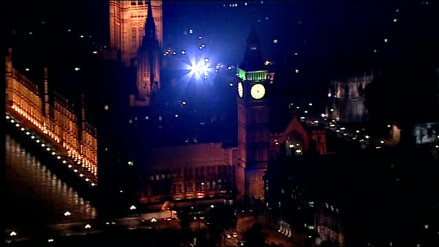 david cameron faces rebellion on eu referendum; england: london: ext / night air view / aerial houses of parliament and big ben at night - rebellion stock videos & royalty-free footage