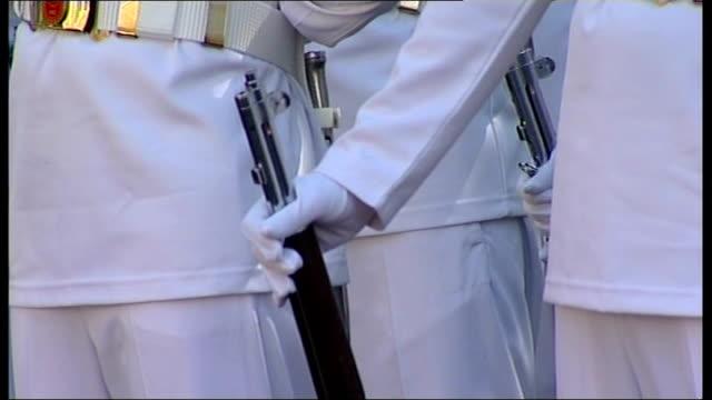David Cameron handshake with Turkish Prime Minister Recep Tayyip Erdogan TURKEY Ankara EXT Turkish soldiers wearing white uniforms / Turkish soldiers...