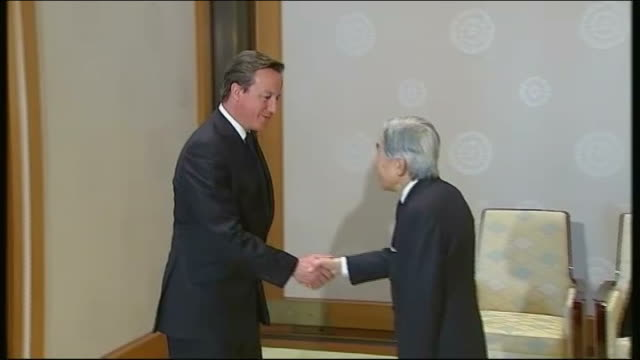 david cameron heads delegation of british business leaders on visit to japan *** warning cameron into room to meet japanese emperor akihito cameron... - emperor akihito stock videos and b-roll footage