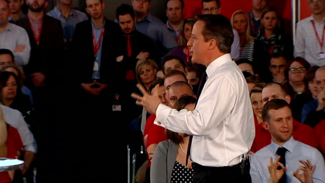 david cameron holds pm direct event in newbury; cameron answering questions sot - newbury inghilterra video stock e b–roll