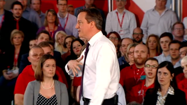 david cameron holds pm direct event in newbury; question & answer session: cameron answering questions sot - newbury inghilterra video stock e b–roll