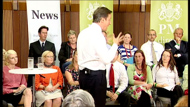 David Cameron holds 'PM Direct' session in Hove Cameron answering questions SOT On commitment to the health service / Conservative manifesto had a...