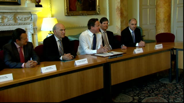 david cameron hosts breakfast meeting with board of directors of the european automobile manufacturers' association; england: london: downing street:... - vince cable stock videos & royalty-free footage