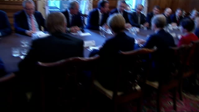 david cameron hosts youth skills event at downing street england london 10 downing street int various shots of david cameron mp addressing meeting of... - skewer stock videos & royalty-free footage