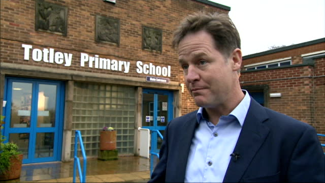 nick clegg reaction england south yorkshire sheffield totley primary school ext nick clegg mp interview sot - ニック クレッグ点の映像素材/bロール