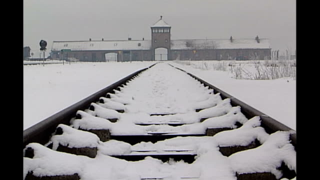 david cameron in auschwitz 'gimmick' row r26010510 auschwitz birkenau train tracks leading up to auschwitz birkenau concentration camp entrance gate... - konzentrationslager stock-videos und b-roll-filmmaterial