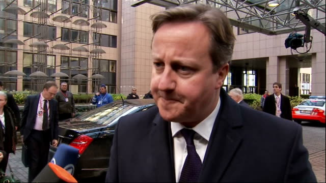 david cameron in belgium for ec meeting on defence david cameron interview belgium brussels ext david cameron mp out of car and along to speak to... - lee rigby stock videos & royalty-free footage