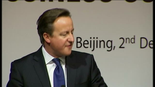 david cameron in china for trade talks cameron speech sot i know that in china you sometime talk about crossing the river by feeling your way across... - chinese communist party stock videos and b-roll footage