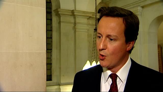 david cameron interview on crime summit and gordon brown; england: london: millbank: int david cameron mp interview sot - on conference on... - 2008年北京夏季オリンピック点の映像素材/bロール