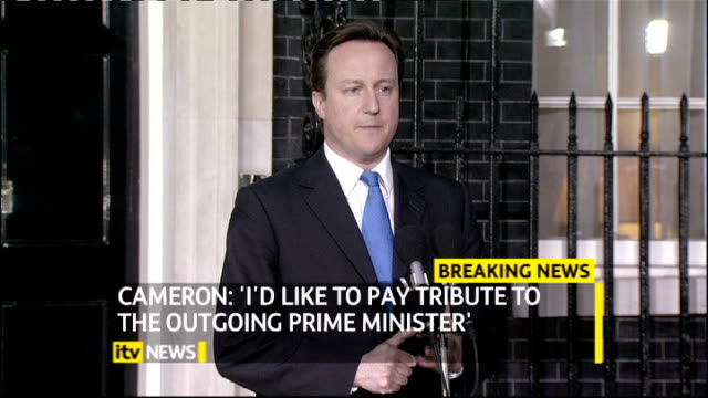 david cameron is new prime minister ** beware david and samantha cameron walking hand in hand down downing street david cameron mp speech as watched... - prime minister stock videos & royalty-free footage