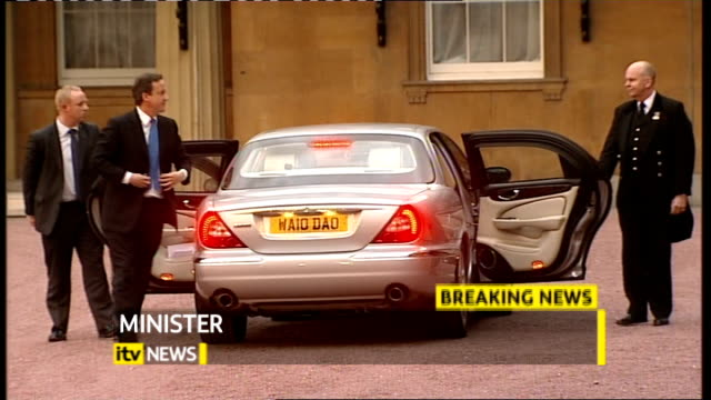 David Cameron is new Prime Minister EXT David Cameron MP and Samantha Cameron out of car as arriving at Buckingham Palace