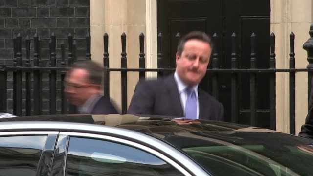 David Cameron leaves Downing Street ***CLIP London Downing Street EXT David Cameron MP exits 10 Downing Street into car and away